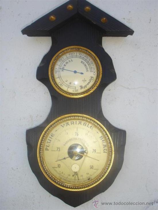 BAROMETRO MADERA RUSTICA (Relojes - Relojes Actuales - Otros)