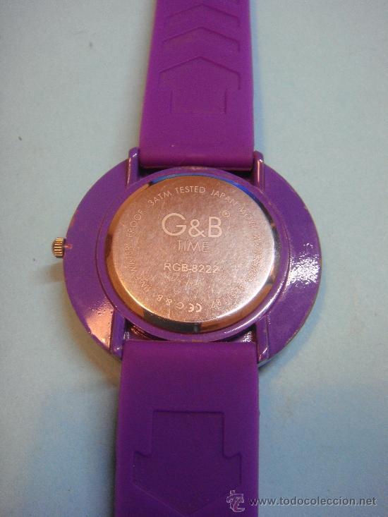 Relojes: RELOJ DE PULSERA DE COLOR LILA G&b. WATER RESISTANT. CORREA DE GOMA. - Foto 3 - 38785829