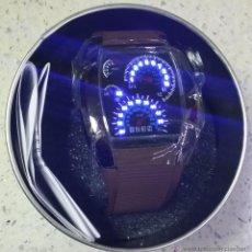Relojes: RELOJ LED MARCADORES ANALÓGICOS PULSERA CAUCHO CHOCOLATE. Lote 68491286