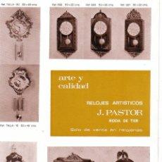 Relojes: CATALOGO RELOJES -RELOJ -J.PASTOR -LISTA DE PRECIOS -RODA DE TER -BARCELONA -VER FOTOS. Lote 49848352