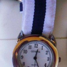 Relojes: GENEVA QUARTZ RELOJ DE MUJER, CORREA DE TELA DE COLOR BLANCO Y NEGRO, BATERÍA NUEVA, JAPAN MOVEMENT. Lote 42675472