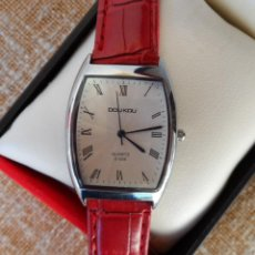 Relojes: DOU KOU QUARTZ RELOJ DE MUJER, CORREA DE PIEL COLOR ROJO, RESISTENTE AL AGUA, BATERÍA NUEVA, D-056. Lote 191469713