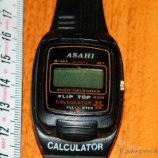 Relojes: RELOJ PULSERA ASAHI CALCULADORA VINTAGE FLIP TOP CALCULATOR SIN PROBAR BUEN ESTADO VER FOTOS. Lote 84427807