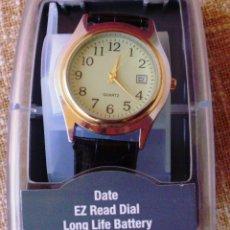 Relojes: QUARTZ DATE EZ READ DIAL RELOJ PARA SEÑORA, DE BATERÍA, MOVIMIENTO JAPONÉS, CORREA DE CUERO. Lote 44664827