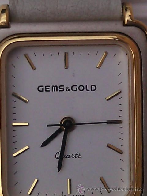 RELOJ DE PULSERA PARA SEÑORA. ANALÓGICO GEMS & GOLD. SWISS MADE. AÑOS 80. (Relojes - Relojes Actuales - Otros)