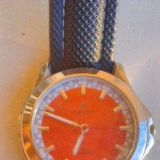 Relojes: RELOJ CAUNY 50 M WATWR RESISTANT. QUARTZ. ESFERA ROJA CORREA DE CUERO.. Lote 46060821