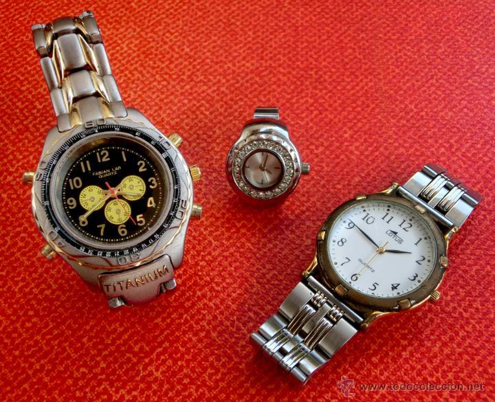 LOTE DE TRES RELOJES - DOS DE PULSERA Y UNO DE DEDO - LOTUS - FABIAN LAR - SIX. QUARTZ - TITANIUM (Relojes - Relojes Actuales - Otros)