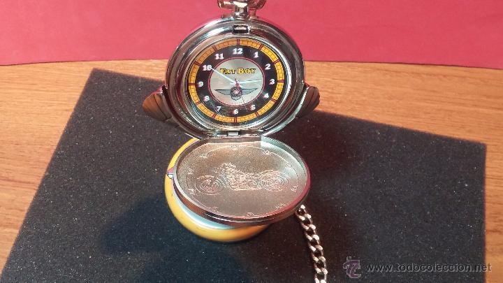 Relojes: Reloj de bolsillo estilo vintage Harley Davison con cadena y relojera para el mismo - Foto 6 - 54619934