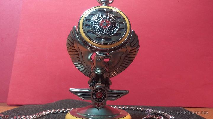 Relojes: Reloj de bolsillo estilo vintage Harley Davison con cadena y relojera para el mismo - Foto 10 - 54619934