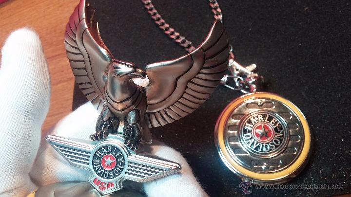 Relojes: Reloj de bolsillo estilo vintage Harley Davison con cadena y relojera para el mismo - Foto 22 - 54619934