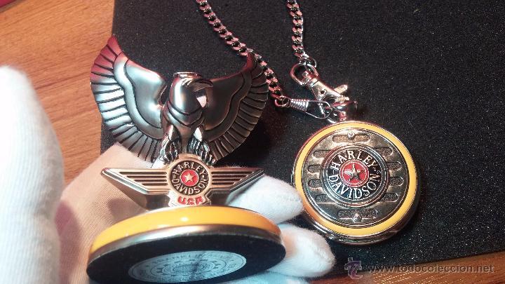 Relojes: Reloj de bolsillo estilo vintage Harley Davison con cadena y relojera para el mismo - Foto 24 - 54619934