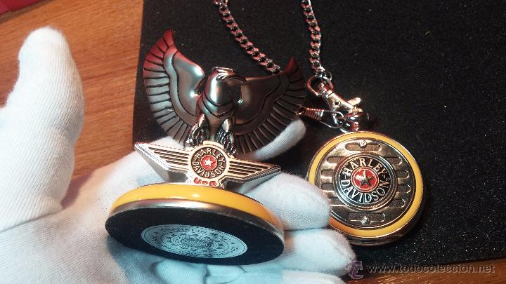 Relojes: Reloj de bolsillo estilo vintage Harley Davison con cadena y relojera para el mismo - Foto 28 - 54619934