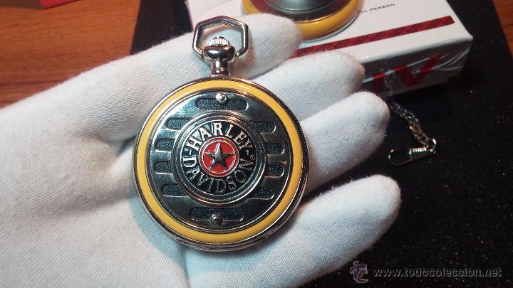 Relojes: Reloj de bolsillo estilo vintage Harley Davison con cadena y relojera para el mismo - Foto 34 - 54619934