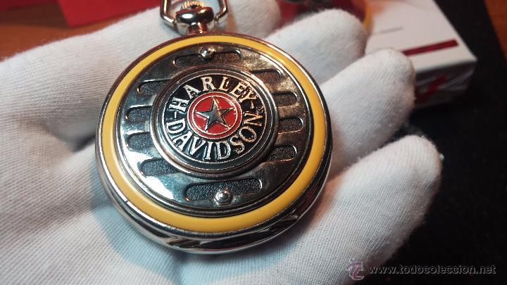 Relojes: Reloj de bolsillo estilo vintage Harley Davison con cadena y relojera para el mismo - Foto 36 - 54619934
