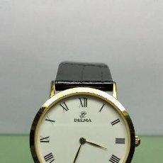 Relojes: RELOJ DE CABALLERO CUARZO MARCA DELMA CON CORREA DE CUERO NEGRA CHAPADO DE ORO 10 MICRAS. Lote 57140109