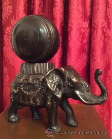 Relojes: Elefante de bronce con esfera de reloj / - Foto 2 - 57265779