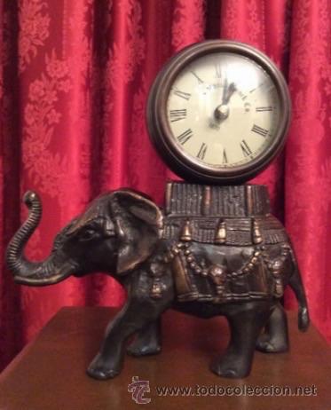 Relojes: Elefante de bronce con esfera de reloj / - Foto 3 - 57265779