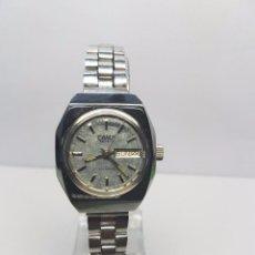 Relojes: RELOJ AUTOMÁTICO DE SEÑORA CAMY ACERO CON DOBLE CALENDARIO A LAS 3 HORAS Y CORREA DE ACERO. Lote 57492951