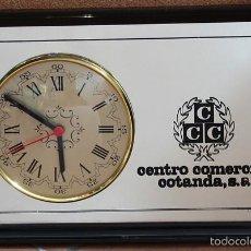 Relojes: RELOJ CUADRO ESPEJO PUBLICIDAD DE CENTRO COMERCIAL COTANDA, S.A. 25 X 40 CM, MAQUINARIA NUEVA. Lote 58113304