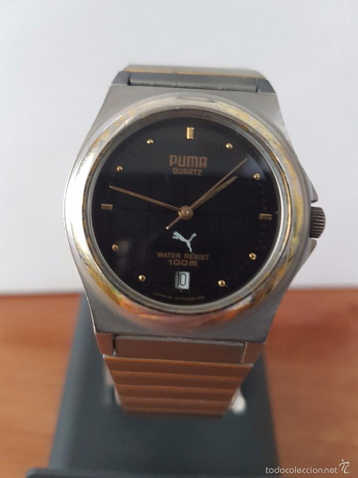 reloj de caballero marca puma de cuarzo en acero con correa de acero bicolor corona