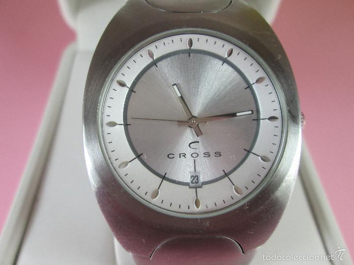 Relojes: RELOJ ACERO-CUARZO-JAPAN-CROSS-38x43 MM-PRECIOSO-CORREA ACERO DISEÑO-CAJA NO ORIGINAL-COMO NUEVO - Foto 4 - 58219567
