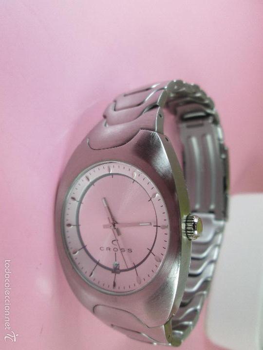 Relojes: RELOJ ACERO-CUARZO-JAPAN-CROSS-38x43 MM-PRECIOSO-CORREA ACERO DISEÑO-CAJA NO ORIGINAL-COMO NUEVO - Foto 7 - 58219567