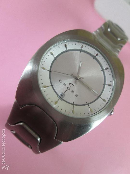 Relojes: RELOJ ACERO-CUARZO-JAPAN-CROSS-38x43 MM-PRECIOSO-CORREA ACERO DISEÑO-CAJA NO ORIGINAL-COMO NUEVO - Foto 9 - 58219567