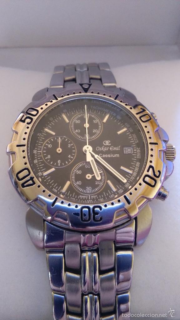 Relojes: Reloj cronógrafo acero Oskar Emil Caesium. 39 mm, cuarzo, fecha. Con caja, 2 correas. Como nuevo. - Foto 2 - 58348121