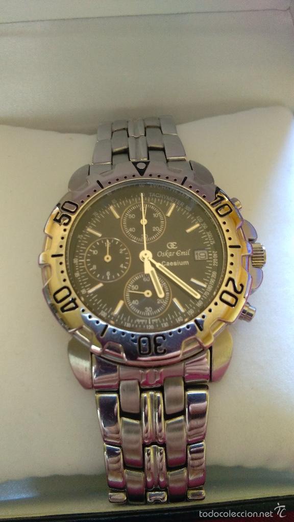 Relojes: Reloj cronógrafo acero Oskar Emil Caesium. 39 mm, cuarzo, fecha. Con caja, 2 correas. Como nuevo. - Foto 3 - 58348121