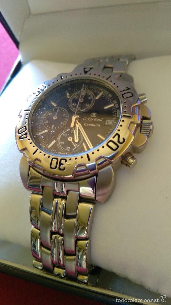 Relojes: Reloj cronógrafo acero Oskar Emil Caesium. 39 mm, cuarzo, fecha. Con caja, 2 correas. Como nuevo. - Foto 4 - 58348121