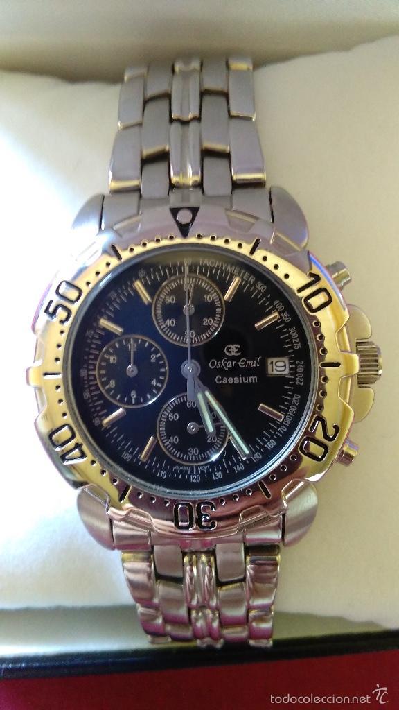 Relojes: Reloj cronógrafo acero Oskar Emil Caesium. 39 mm, cuarzo, fecha. Con caja, 2 correas. Como nuevo. - Foto 5 - 58348121