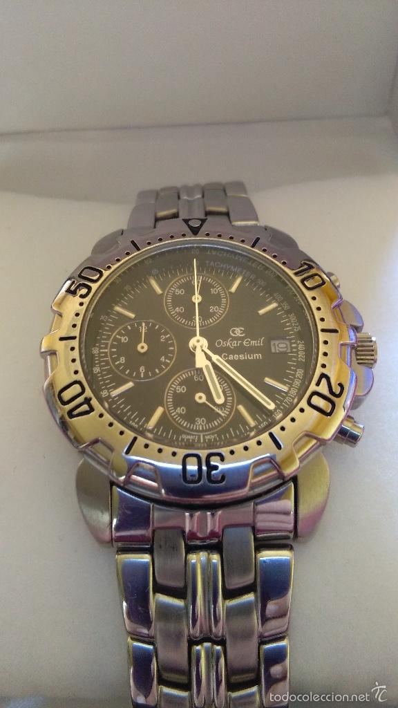 Relojes: Reloj cronógrafo acero Oskar Emil Caesium. 39 mm, cuarzo, fecha. Con caja, 2 correas. Como nuevo. - Foto 6 - 58348121