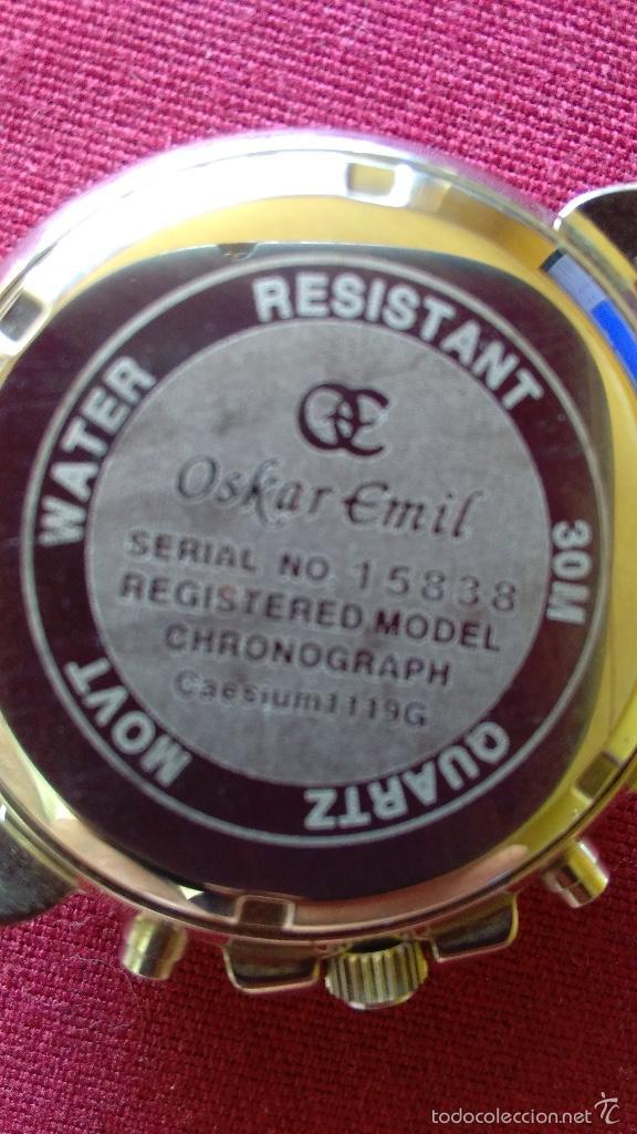 Relojes: Reloj cronógrafo acero Oskar Emil Caesium. 39 mm, cuarzo, fecha. Con caja, 2 correas. Como nuevo. - Foto 8 - 58348121