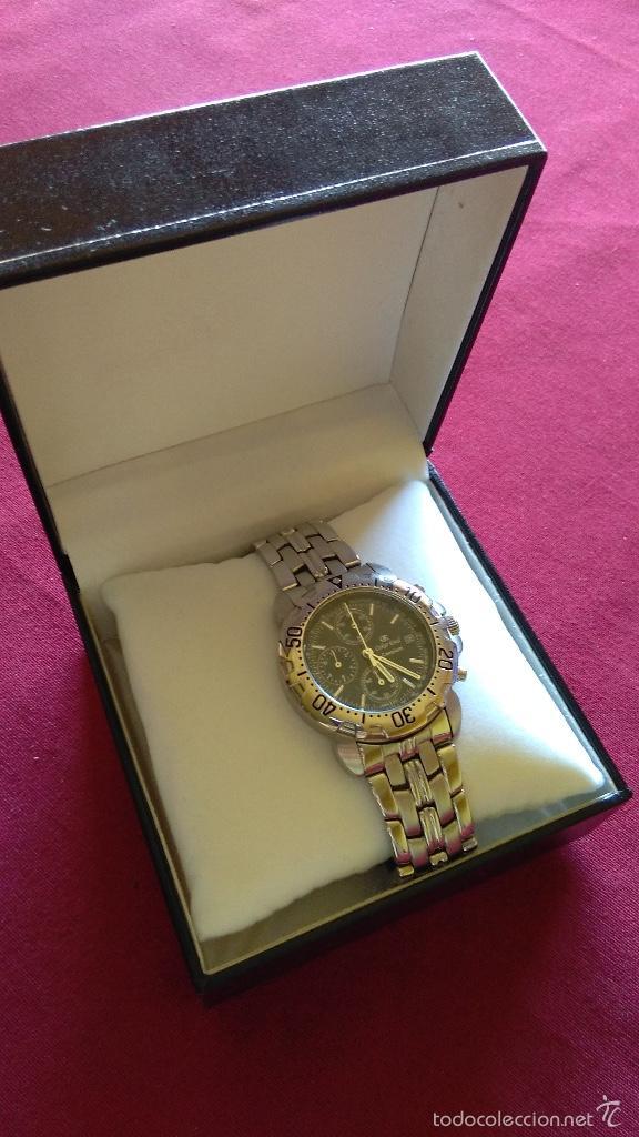 Relojes: Reloj cronógrafo acero Oskar Emil Caesium. 39 mm, cuarzo, fecha. Con caja, 2 correas. Como nuevo. - Foto 9 - 58348121