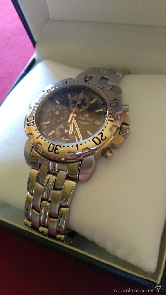 Relojes: Reloj cronógrafo acero Oskar Emil Caesium. 39 mm, cuarzo, fecha. Con caja, 2 correas. Como nuevo. - Foto 10 - 58348121