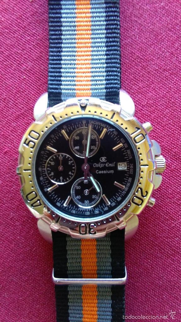 Relojes: Reloj cronógrafo acero Oskar Emil Caesium. 39 mm, cuarzo, fecha. Con caja, 2 correas. Como nuevo. - Foto 12 - 58348121