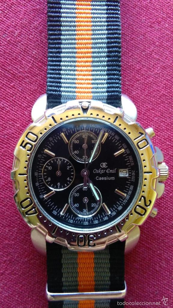 Relojes: Reloj cronógrafo acero Oskar Emil Caesium. 39 mm, cuarzo, fecha. Con caja, 2 correas. Como nuevo. - Foto 13 - 58348121
