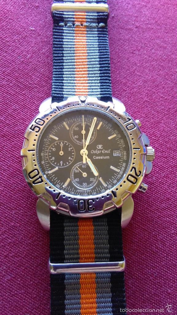 Relojes: Reloj cronógrafo acero Oskar Emil Caesium. 39 mm, cuarzo, fecha. Con caja, 2 correas. Como nuevo. - Foto 14 - 58348121