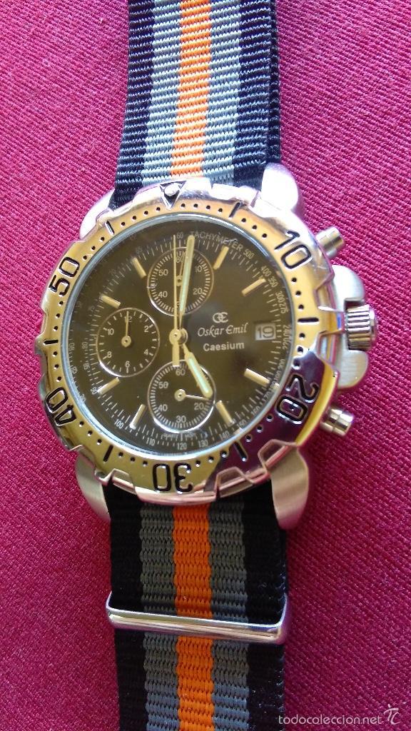 Relojes: Reloj cronógrafo acero Oskar Emil Caesium. 39 mm, cuarzo, fecha. Con caja, 2 correas. Como nuevo. - Foto 20 - 58348121