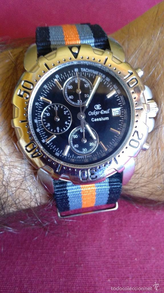 Relojes: Reloj cronógrafo acero Oskar Emil Caesium. 39 mm, cuarzo, fecha. Con caja, 2 correas. Como nuevo. - Foto 21 - 58348121