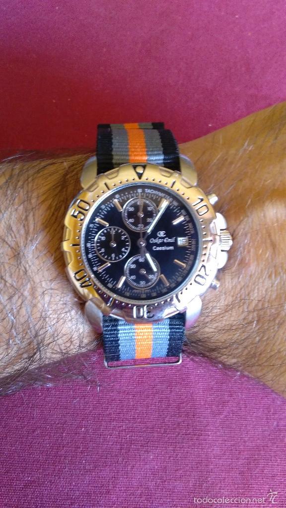 Relojes: Reloj cronógrafo acero Oskar Emil Caesium. 39 mm, cuarzo, fecha. Con caja, 2 correas. Como nuevo. - Foto 22 - 58348121