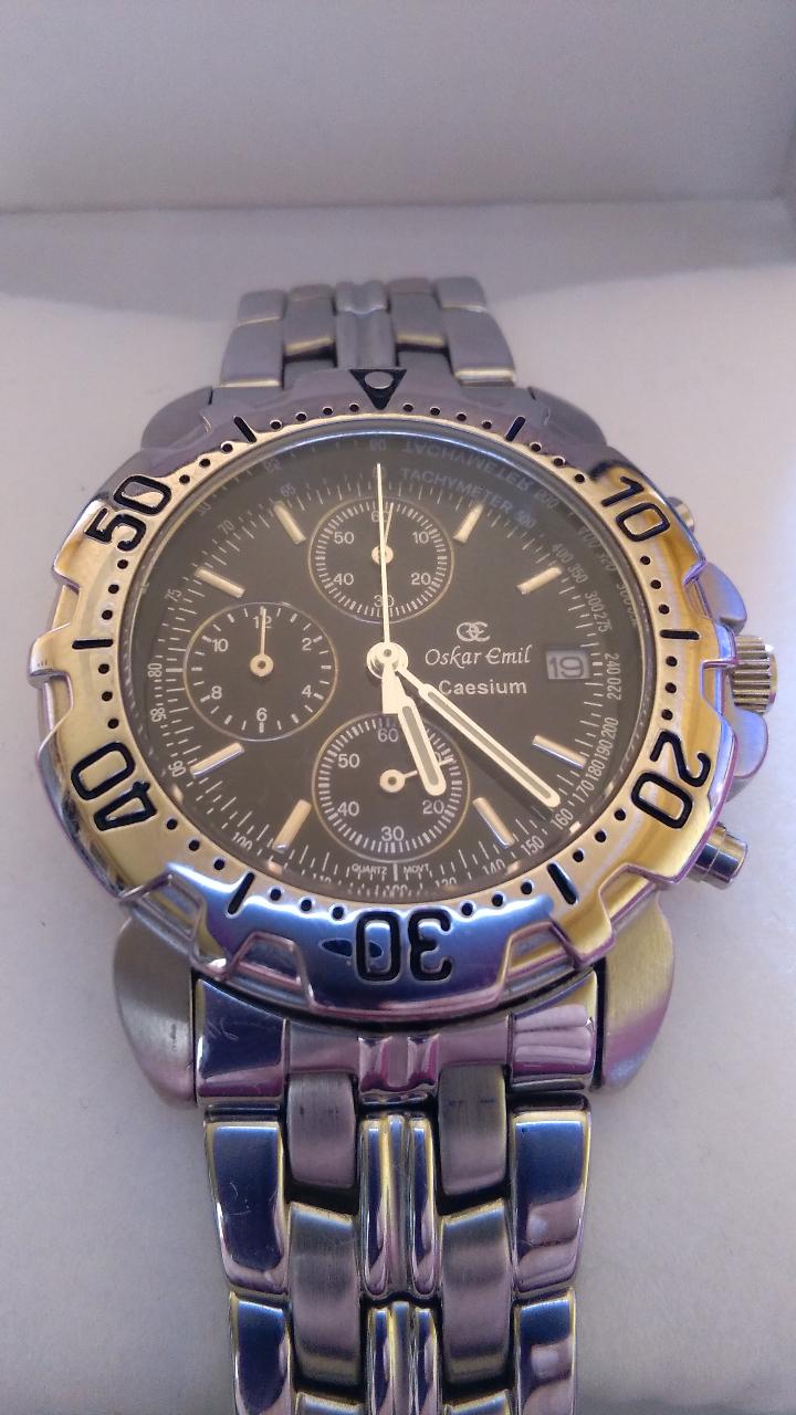 Relojes: Reloj cronógrafo acero Oskar Emil Caesium. 39 mm, cuarzo, fecha. Con caja, 2 correas. Como nuevo. - Foto 23 - 58348121