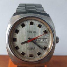 Relojes: RELOJ CABALLERO (VINTAGE) MARCA POTENS AUTOMÁTICO 25 RUBIS INCABLOC CON DOBLE CALENDARIO CORREA ACER. Lote 58465302