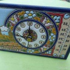 Relojes: RELOJ SOBREMESA-TERMÓMETRO-VISTAS DE SALAMANCA PINTADO A MANO CON ESMALTE SOBRE AZULEJO-ALTA CALIDAD. Lote 58547356