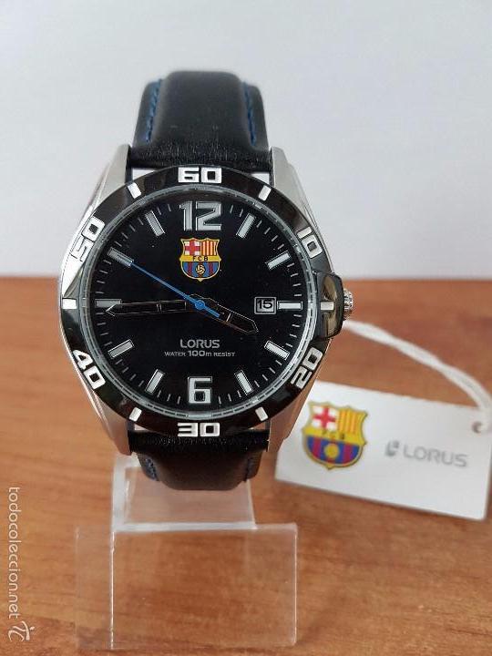 364191ced654 Relojes  Reloj de caballero Lorus de cuarzo del F.C.Barcelona en acero con  correa cuero
