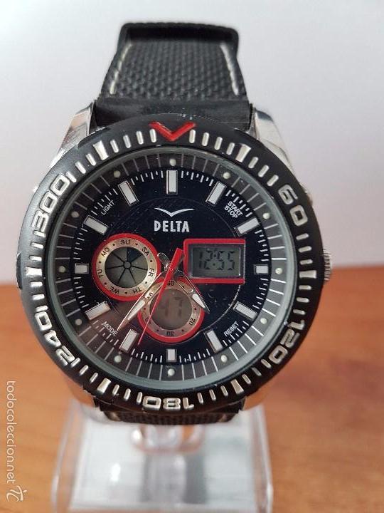 Relojes  Reloj de caballero marca Delta cuarzo analógico y digital con correa  negra de silicona a3676c2ecfc9