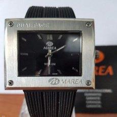 Relojes: RELOJ DE CABALLERO MAREA DUAL FACE, DOBLE RELOJ CON CORREA SILICONA NEGRA NUEVO DE STOCK DE TIENDA. Lote 60673283