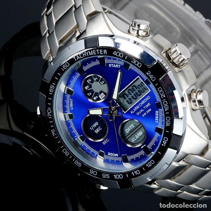 Reloj de Pulsera Hombre Luz Led Azul Acero Crono con Alarma Digital y  Analógico 242d995b5cdf