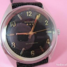 Relojes: PRECIOSO RELOJ-SUIZO-BENRUS SELFWINDING-36 MM CON CORONA-ACERO-ESFERA NEGRA-FUNCIONANDO-VER FOTOS. Lote 57033790
