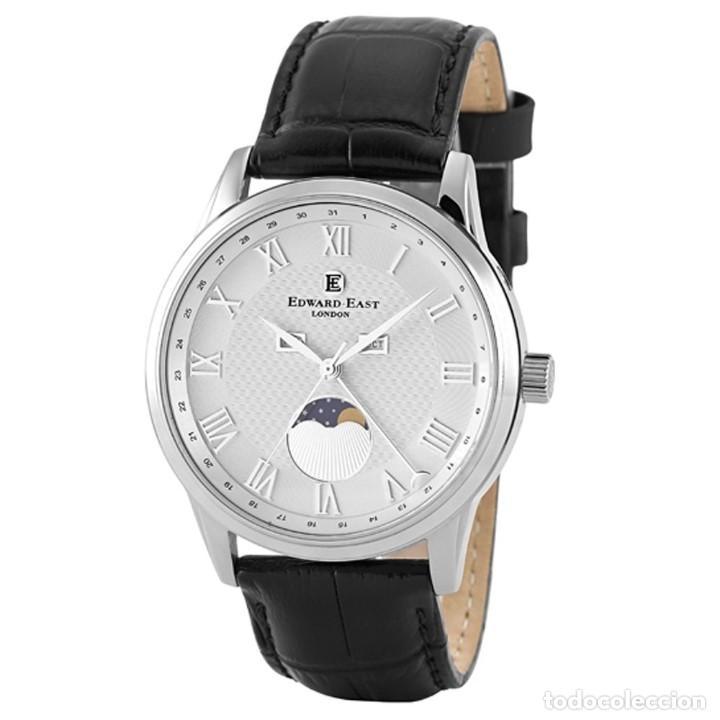 £ Hombre 490 Fase De Rrp Para Acero Cuero Lunar Edward East Correa Reloj Negro Inoxidable OuTkXiPZ